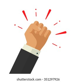 Winner hand up fist vector sign concept, banking workers, employees revolution against leadership sticker, politics achievement, businessman shouting logo label design illustration isolated on white