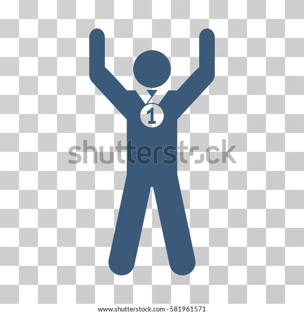 Winner Hands Up vector pictogram. Illustration style is a flat iconic blue symbol on a transparent background.