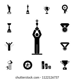 the winner holds the cup over his head icon. Detailed set of Sucsess and awards icons. Premium quality graphic design sign. One of the collection icons for websites, web design on white background