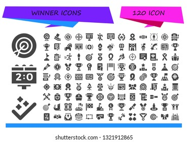winner icon set. 120 filled winner icons.  Collection Of - Target, Success, Scoreboard, Goal, Running, Project, Run, Merit, Awards, Quality, Champion belt, Slot machine, Trophy