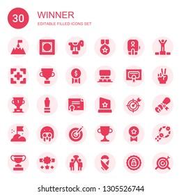 winner icon set. Collection of 30 filled winner icons included Goal, Vignette, Horse, Medal, Boxing, Target, Trophy, Award, Projection, Certificate, Seal, Dartboard, Medals, Winner