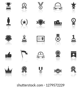 Winner icons with reflect on white background, stock vector