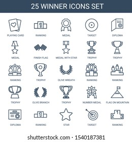 winner icons. Trendy 25 winner icons. Contain icons such as playing card, ranking, medal, target, diploma, finish flag, medal with star, trophy. winner icon for web and mobile.