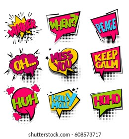 Winner, keep calm set Comic book halftone colored background balloon. Bubble icon speech phrase. Cartoon exclusive font label tag expression Comic text, font sound effect dot back. Vector illustration