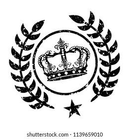 Winner Laurels King Stamp Design Vector Art