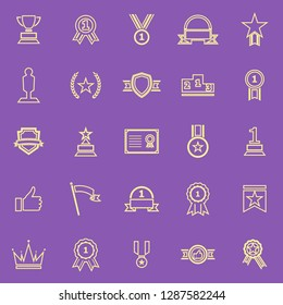 Winner line color icons on purple background, stock vector