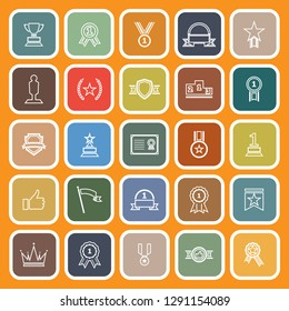 Winner line flat icons on orange background, stock vector