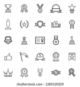 Winner line icons on white background, stock vector