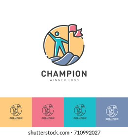 The winner of the logo. The man climbed the mountain. Man with a flag on the mountain. Identity. Color spectrum.