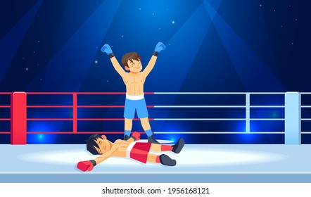 Winner and a loser boxers. Beaten boxer lying on the floor during a boxing battle, having a knockdown on the ring. Professional Boxing among boys. Cartoon vector illustration.