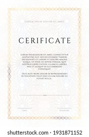 Winner luxury certificate, vertikal template design, blank diploma with guilloches in white tones