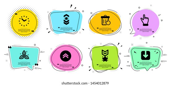 Winner medal, Fair trade and Shoulder strap line icons set. Chat bubbles with quotes. Recovery trash, Time and Click hand signs. Swipe up, Load document symbols. Ranking star, Leaf. Vector