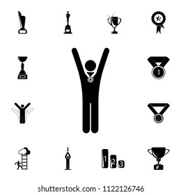 the winner with the medal raises his hands icon. Detailed set of Sucsess and awards icons. Premium quality graphic design sign. One of the collection icons for websites, web design on white background