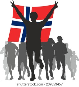 Winner with the Norway flag at the finish