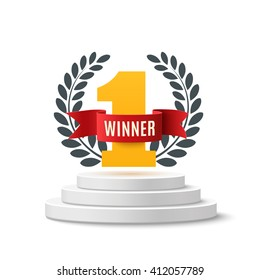 Winner, number one background with red ribbon and olive branch on round pedestal isolated on white. Poster or brochure template. Vector illustration.