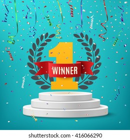 Winner, number one background with red ribbon, olive branch  and confetti on round pedestal isolated on blue. Poster or brochure template. Vector illustration.