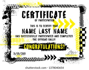 Winner or participation certificate with tire tracks print elements. Off road grunge background. Graphic vector illustration. Editable isolated image in black, yellow, white color with copy space