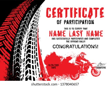 Winner or participation certificate with tire tracks print elements. Off road grunge background. Graphic vector illustration. Editable isolated image in black, red, white color with copy space