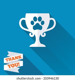 Winner pets cup sign icon. Trophy for pets. White flat icon with long shadow. Paper ribbon label with Thank you text. Vector