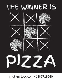 The winner is pizza. Vector hand drawn illustration of pizza with inscription . Template for card, poster, banner, print for t-shirt, pin, badge, patch.