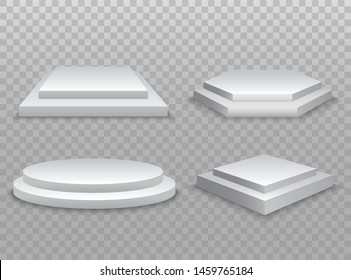 Winner podium. 3d podium, pedestal or platform on transparent background. Vector illustration EPS10