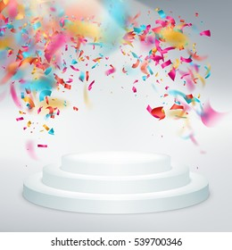 Winner podium confetti with light rays. Party or festival illustration. EPS 10 vector file included