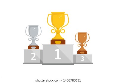 Winner podium with cups for the first, second and third place. Pedestal winner at sporting events, prizes for champions. Gold, silver and bronze cup on a pedestal.
