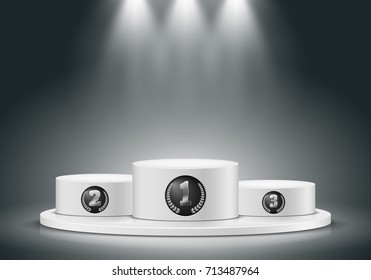 Winner podium on dark background. Empty pedestal for award ceremony. Platform illuminated by spotlights. Vector illustration.