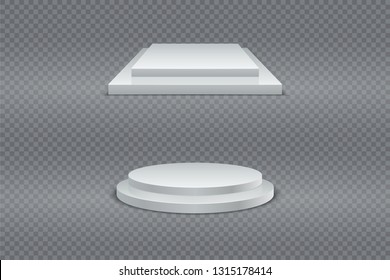 Winner podium set. Round and square 3d two-stage podium, pedestal or platform on transparent background. Vector set