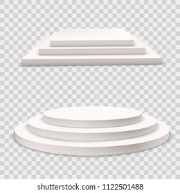 Winner podium  set.  White 3d round and square three-stepped pedestals. Realistic light.Template for advertising products.