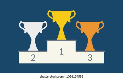 Winner podium with trophy cups. Golden, silver and bronze champion cup. 1st, 2nd and 3rd places prize. Vector illustration.