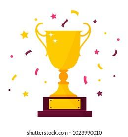 Winner prize goblet. First place champion trophy reward