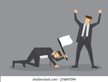 Winner raised arm in victory gesture and loser crawling on floor with white flag to surrender. Vector illustration for business concept isolated on grey background.