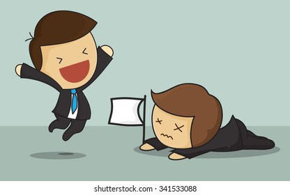 Winner raised arm in victory gesture and loser crawling on floor with white flag to surrender. Vector illustration for business concept isolated on green background.