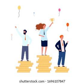 Rango de ganadores. Empresarios en peatones de dinero. Mujer con concepto vectorial de copa de victoria dorada