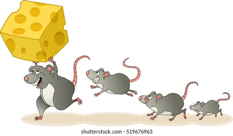 Winner of the rat race leads a pack of sad, hungry, envious rodents to victory. Vector illustration