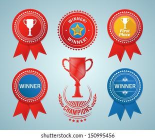 Winner ribbons and badges. EPS10.
