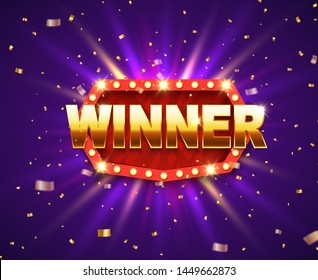 Winner shiny banner with glowing lamps and gold glitter. Lottery game jackpot prize background.