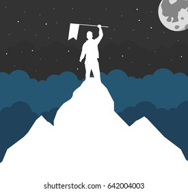 Winner silhouette holding a flag on mountain top. Flat vector Illustration.