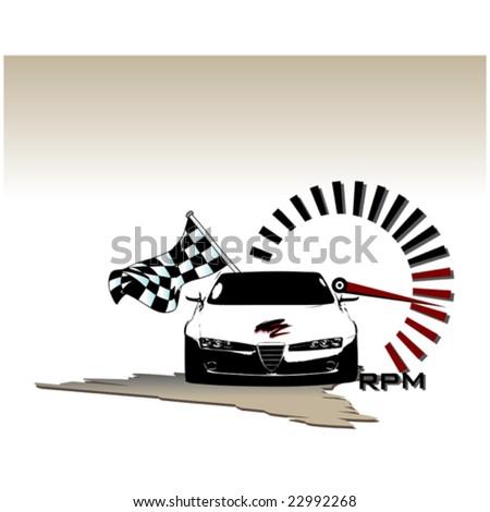 Winner Sport Car Flag Tachometer Red Stock Vector Royalty Free