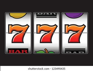 Winner triple sevens at slot machine