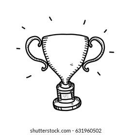 Winner Trophy Doodle, a hand drawing vector doodle illustration of a gold trophy doodle.