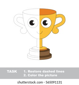 Winner Trophy. Dot to dot educational game for kids. Half tracing worksheet to be colored.