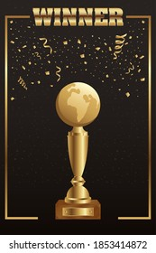 winner trophy earth planet golden with confetti vector illustration design