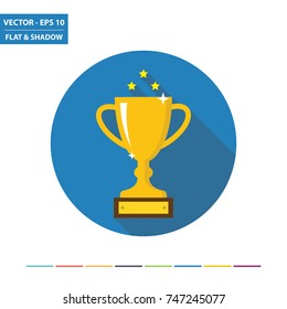 Winner trophy flat icon with long shadow. Vector Illustration.