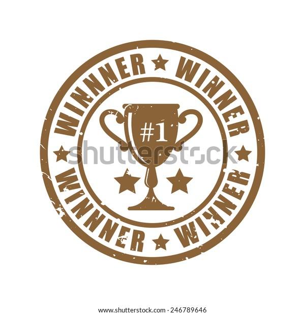 Winner Trophy Grunge Stamp Vector Illustrator Stock Vector