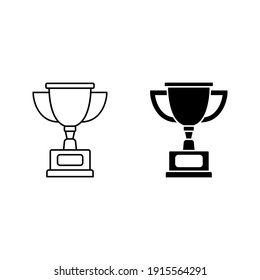 Winner trophy icon vector, symbol of victory event color editable on white background