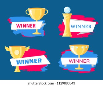 Winner trophy variety illustration on blue backdrop with pink stroke. Gold cup with wings, handle or diamonds and statuette with glass ball poster.
