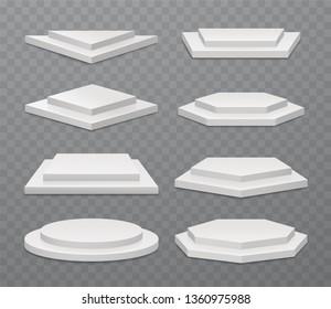 Winner white podiums or exhibition pedestals, two-stepped  scenes. Set of round, square, trihedron, hex, pentahedron, heptagon platforms.