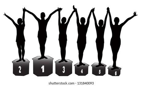 the winners at gymnastics, six sport-girls silhouette vector